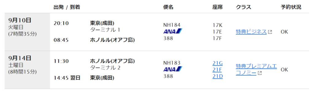 ANA 2019年 ハワイ 特典航空券 発券(ビジネス・プレミアムエコノミー)