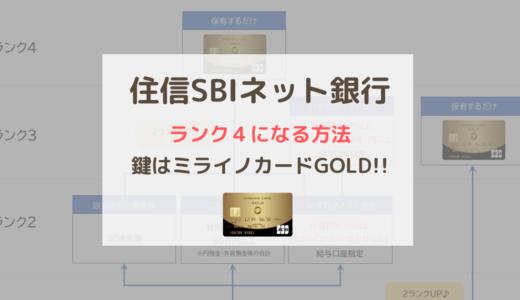 ミライノカードGOLDを年会費無料にして住信SBI銀行のランク4になる方法!